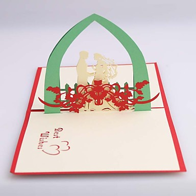 preiswerte Hochzeitseinladungen-Seitlich gefaltet Hochzeits-Einladungen Einladungskarten für die Hochzeit Kartonpapier 12*14.5 cm