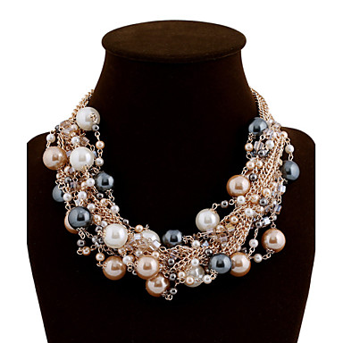 cheap Statement Necklaces-Women's Statement Necklace Pearl Necklace Ladies Luxury Festival / Holiday Color Pearl Alloy Black Pink Rainbow Necklace Jewelry For Wedding Party Special Occasion