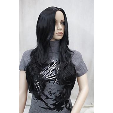 Syntetiska peruker Vågigt Vågigt Med lugg Peruk Syntetiskt hår Dam Svart Hivision