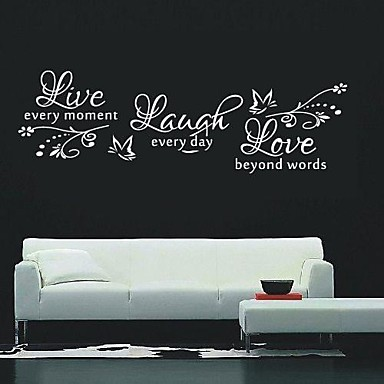 cheap Wall Stickers-Still Life Wall Stickers Words & Quotes Wall Stickers Decorative Wall Stickers, Vinyl Home Decoration Wall Decal Wall Decoration / Washable / Removable