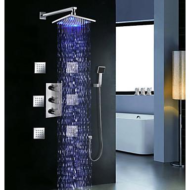 Duschkran - Nutida Krom Väggmonterad Mässing Ventil Bath Shower Mixer Taps / Tre Handtag tre hål