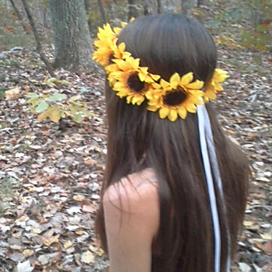 cheap Hair Jewelry-Women's Headbands Tiaras For Wedding Party Special Occasion Daily Sunflower Fabric Yellow White