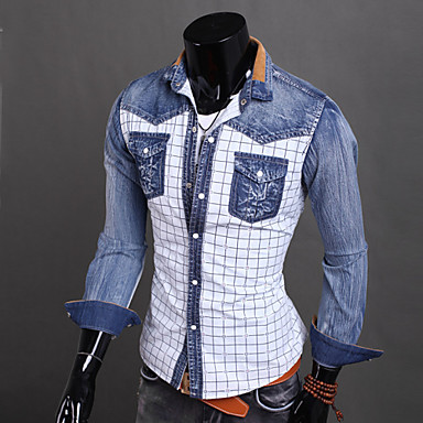 2102fcdab a cuadros moda masculina delgada larga camisa vaquera de manga lavada  3166543 2019 –  21.99