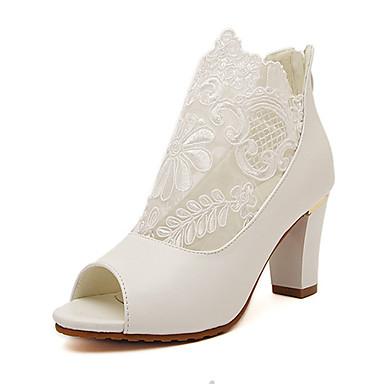 01cfc94761c ... sort hvid tyk hæl kvinders sko hæle Åben tå blonder