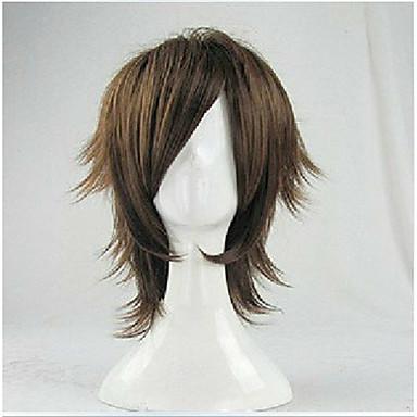 billige Kostymeparykk-Syntetiske parykker Rett Stil Parykk Brun Syntetisk hår Dame Brun Parykk Kort hairjoy