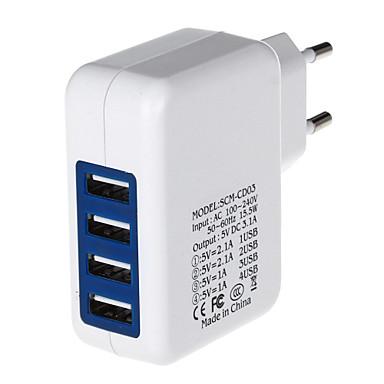 preiswerte Netzadapter & Netzkabel-4000mA Vier-Port-USB-Netzteil / Ladegerät (100 ~ 240V / EU-Stecker)