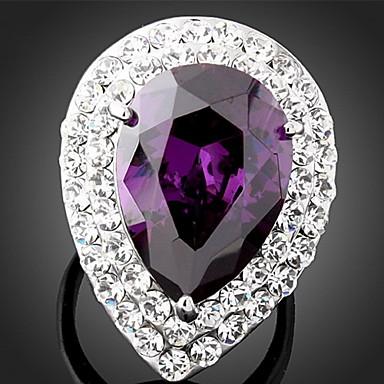 voordelige Herensieraden-Dames Statement Ring Diamant Kubieke Zirkonia Amethist Paars Synthetische Edelstenen Kubieke Zirkonia Legering Dames Modieus Bling bling Feest Sieraden Peer plaveien Cocktailring