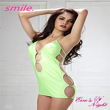 ece038faa30a Women New Hot Sexy Light Green Halter Faux Leather Chemise Lingerie Ladies  Backless Mini Dress Clubwear Free shipping 2961603 2019 – $15.99