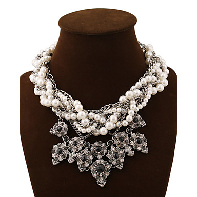 cheap Pearl Necklaces-Women's Crystal Statement Necklace Layered Necklace Layered Chinese Knot Ladies Luxury European Fashion Synthetic Gemstones Pearl Alloy Screen Color Necklace Jewelry For Party Special Occasion