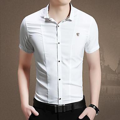 män mode fritid ren färg kortärmad skjorta 3084767 2019 –  25.29 88c10317e8cd5