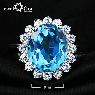 billige Motering-Statement Ring Kubisk Zirkonium Sølv Blå Sølv Zirkonium Kubisk Zirkonium Elegant Fest Smykker Aquarius Sirkel Cocktail Ring