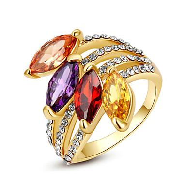 billige Motering-Dame Statement Ring Krystall Regnbue Gjennomsiktig Lysebrun Fuskediamant Legering Geometrisk Form damer Klassisk Mote Fest Smykker