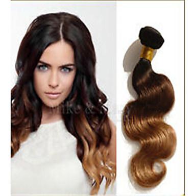 povoljno Ekstenzije od ljudske kose-3 paketa Brazilska kosa Tijelo Wave Ljudska kosa Ljudske kose plete Tamno smeđa zlatna plava Ombre Isprepliće ljudske kose Proširenja ljudske kose / 8A