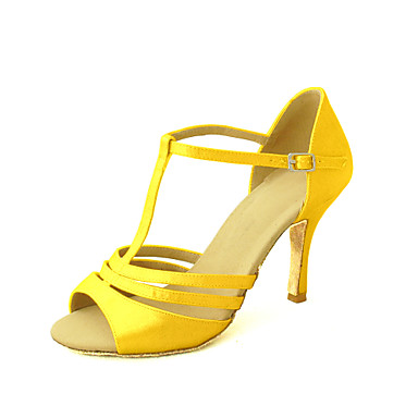 cheap Salsa Shoes-Women's Dance Shoes Satin Latin Shoes / Salsa Shoes Buckle Sandal Customized Heel Customizable Yellow / Fuchsia / Purple / Leather