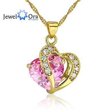 povoljno Modne ogrlice-Pink Kubični Zirconia Srce Zlatno Pink Ogrlice Jewelry Za Vjenčanje Party Special Occasion Dar Kauzalni Dnevno