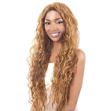 Syntetiska peruker Lockigt Kinky Curly Löst vågigt Sexigt Lockigt Lockigt Asymmetrisk frisyr Peruk Blond Lång Guldbrunt med Blont Syntetiskt hår 20 tum Dam Naturlig hårlinje Blond