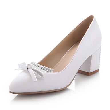 434d6e4672d ... pumps høje hæle ( sort blå rosa hvid ) kvinder spids tå tyk hæl  kunstlæder 3267364