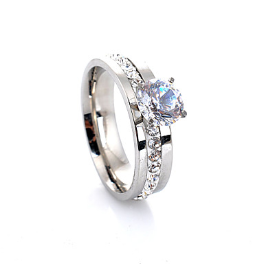 levne Dámské šperky-Dámské Band Ring Zásnubní prsten Belle Ring Diamant Kubický zirkon Stříbrná Slitina Čtyřzubec dámy Luxus Evropský Svatební Párty Šperky Solitaire HALO láska