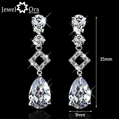 Kubisk Zirkoniumoxid High End Crystal Dangling Dangle Fest Kontor Elegant Zircon Kubisk Zirkoniumoxid örhängen Smycken Vit Till