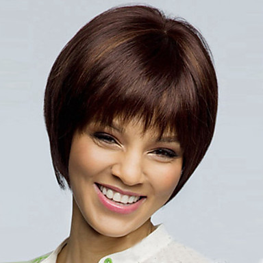 Syntetiska peruker Rak Rak Asymmetrisk frisyr Peruk Korta Brun Syntetiskt hår Dam Naturlig hårlinje Brun