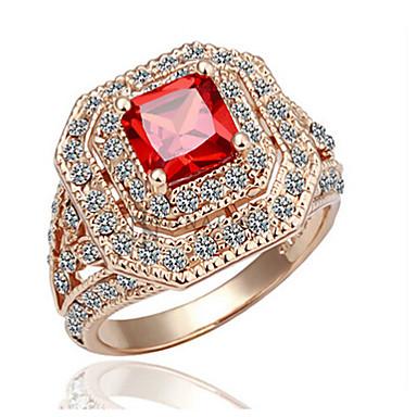 levne Dámské šperky-Vyzvánění Rubínová / Kubický zirkon / Synthetic Ruby Červená / Růžové zlato Syntetické drahé kameny / Zirkon / Pozlacené Luxus / Vintage / Party Kostýmní šperky / 18K zlato / Růže pozlacená