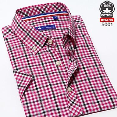 fc09c236 2014 100% bomuld mand hot salg brand sommer kort ærme plaid skjorter slanke  mandlige mode afslappet shirt herreskjorter 3403952 2019 – $45.99