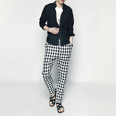 2015 New England styl pánské módní trend divoké kostkované kalhoty mužské  kalhoty gumou v pase kalhoty pánské ležérní kalhoty štíhlý 3397787 2019 –   36.95 7282bc1355