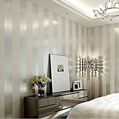 Moderne tapet stripe brede stripete design sliver og hvit for Parati particolari