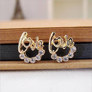levne Dámské šperky-Dámské Kubický zirkon Peckové náušnice láska Luxus počáteční šperky Zirkon Umělé diamanty Náušnice Šperky Zlatá Pro
