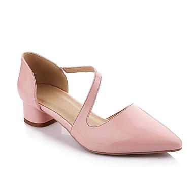 mujer zapatos cuero patentado primavera verano otoño tacón bajo