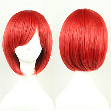 Cosplay Peruker Syntetiska peruker Kostymperuker Rak Rak Asymmetrisk frisyr Peruk Korta Röd Syntetiskt hår Dam Naturlig hårlinje Röd