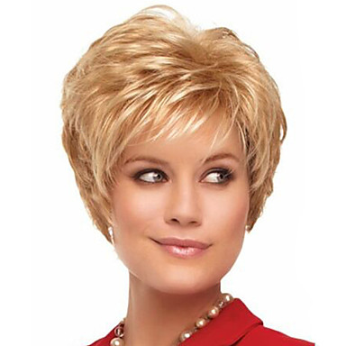 Women Synthetic Wig Capless Curly Blonde Halloween Wig