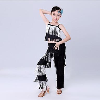 Latinamerikansk dans Outfits Träning / Prestanda Polyester Tofs Ärmlös Naturlig Topp / Byxor / Latinodans / Föreställning