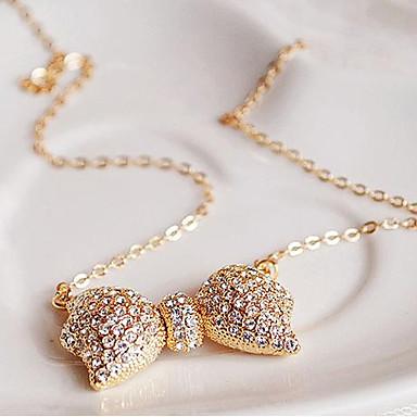 povoljno Modne ogrlice-Žene Kubični Zirconia Ogrlice s privjeskom asfaltirati Mašnice Umjetno drago kamenje Legura Zlato Ogrlice Jewelry Za Vjenčanje