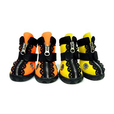 Hund Skor och stövlar Hundstövlar och -skor Spetskant Vattentät Enfärgad Hund Ensfärgat För husdjur PU-läder / Polyuretan Läder Gummi Orange / Vinter