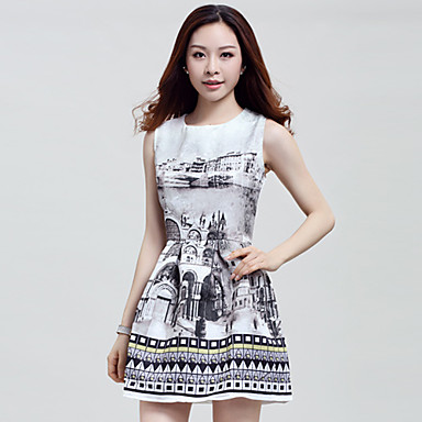 3d47462dd4d5 Women s Vintage Print Micro Elastic Sleeveless Mini Dress (Cotton Spandex  Microfiber) 3218707 2019 –  34.52