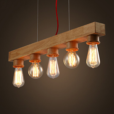 edison native wood handmade wooden chandelier hanging led pendant lamp 3424594 2018. Black Bedroom Furniture Sets. Home Design Ideas