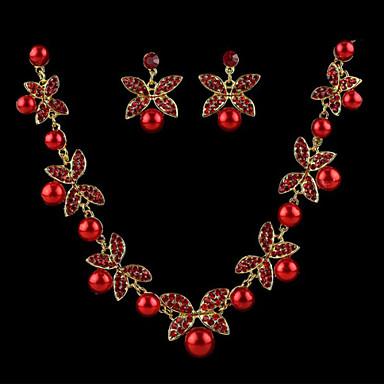 preiswerte Perlen Schmuck Sets-Damen Perlen Ohrringe Schmuck Weiß / Rot Für Hochzeit / Halsketten