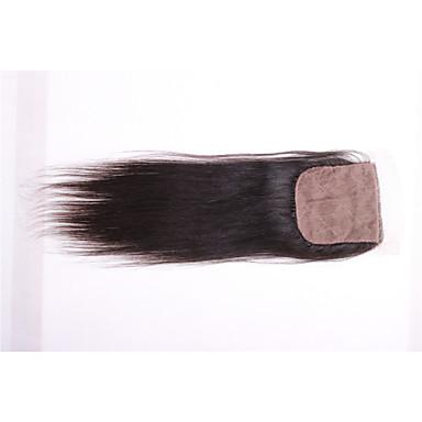 povoljno Ekstenzije od ljudske kose-08inch-20inch Crna / Prirodno crna (#1B) Egyenes Remy kosa Zatvaranje srednje smeđa Švicarska mrežica 30g-60g gram Cap Veličina