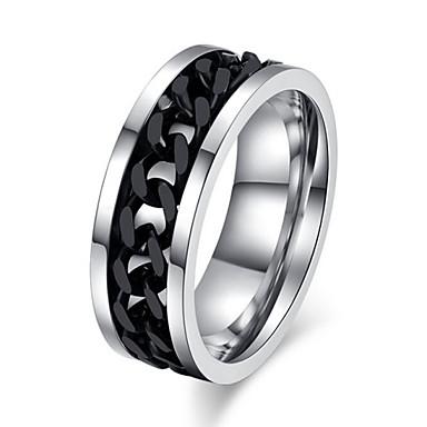 Herr Statement Ring Silver / Svart Titanstål Bröllop Party Smycken Kärlek