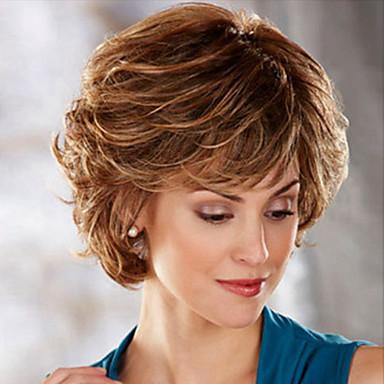 Syntetiska peruker Rak Kroppsvågor Kroppsvågor Asymmetrisk frisyr Peruk Korta Medium Auburn Syntetiskt hår Dam Naturlig hårlinje Ljusbrunt Brun