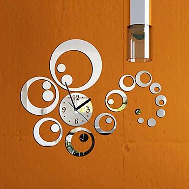 mode avtagbar klockspegel stil diy art väggklistermärken för heminredning (silver)