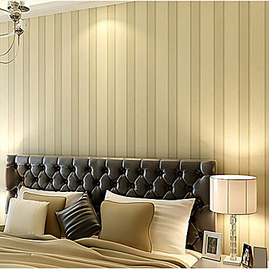 Contemporary Wallpaper Stripe Simple Europe Designs Light Yellow ...