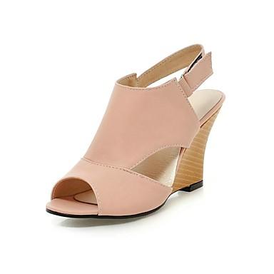Chaussures Femme - Habillé - Noir   Rose   Blanc - Talon Compensé -  Compensées   Bout Ouvert   Bride de Cheville - Sandales - Similicuir de  3310767 2019 à ... 109d3ae24ba4