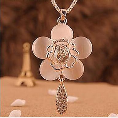 Dam Syntetisk Opal Hänge Halsband Roser Blomma damer Mode Opal Legering Skärmfärg Halsband Smycken Till Speciellt Tillfälle Födelsedag Gåva