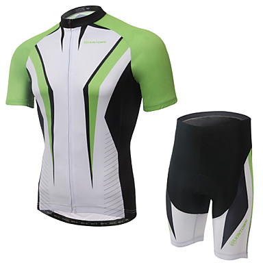 Andningsfunktion/Snabb tork/Anatomisk design/wicking/3D Pad/Reflexkant - Kort ärm - Kostymer/Träningsoverall ( Vit/Grön ) - till Cykling -