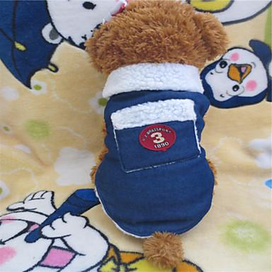 Hund T-shirt Hundkläder Jeans Vit / Blå Terylen Cotton Blandat Material Kostym Till Vinter