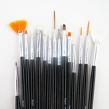 voordelige Nagelgereedschap & Apparatuur-15pcs zwart handvat nail art design schilderij tekenpen borstel set&5pcs 2-weg puntjes marbleizing pen