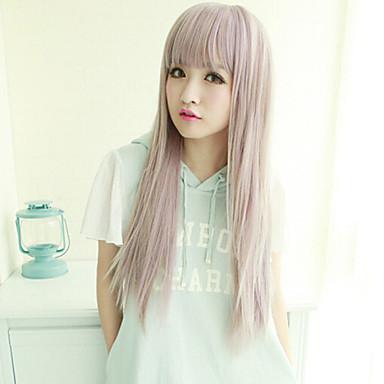 Syntetiska peruker Rak Vågigt Asymmetrisk frisyr Peruk Lång Ny Lila Syntetiskt hår Dam Naturlig hårlinje Lila