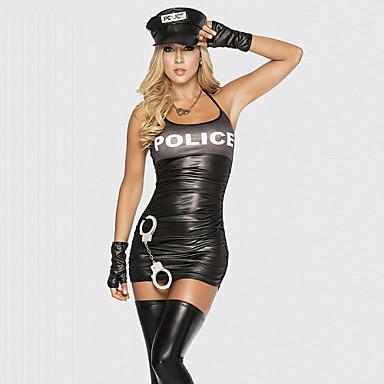 Polis Cosplay Kostymer / Dräkter Festklädsel Dam Polisuniform Halloween Karnival Festival / högtid Polyester Terylen Svart Karnival Kostymer Lappverk